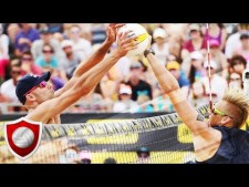 Phil Dalhausser blocks in match against Brouwer/Meeuwsen